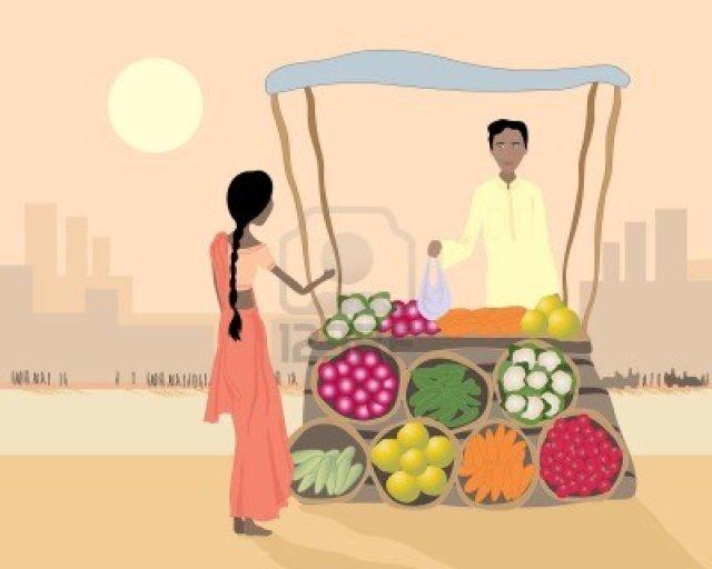 9928124-una-ilustracion-de-un-proveedor-de-asia-street-vendiendo-verduras-a-una-mujer-en-una-ciudad-ocupada-