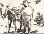 HMBRE CARGANDI VÍVERES EN SU BURRO donkey