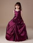 V Neck Beaded Taffeta Ruched Burgundy Flower Girls Dresses 2013