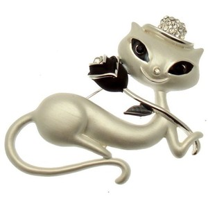 Silvery White Enamel Smiling Cat with Black Rose Brooch POLYVORE